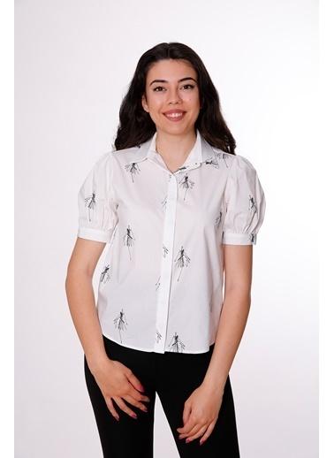 Clıche Desenli Beyaz Gömlek Beyaz